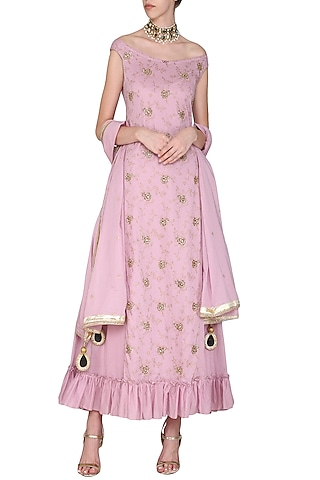 Coral Off Shoulder Dress with Embroidered Dupatta by Seema Nanda