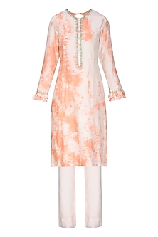 Blush Peach Tie with Dye Embroidered Kurta Set by Seema Nanda