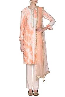 Blush Peach Tie with Dye Embroidered Kurta Set by Seema Nanda