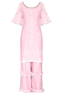 Pink Short Embroidered Kurta Set by Seema Nanda