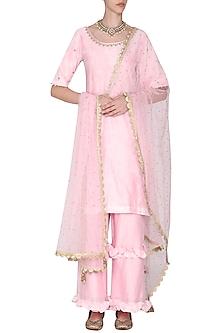 Pink Short Embroidered Kurta Set by Seema Nanda