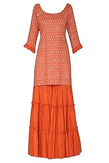 Orange Short Embroidered Kurta Set by Seema Nanda