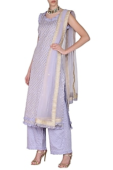 Lavender Long Embroidered Kurta Set by Seema Nanda