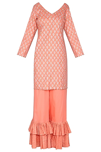 Peach Block Printed with Embroidered Short Kurta Set by Seema Nanda