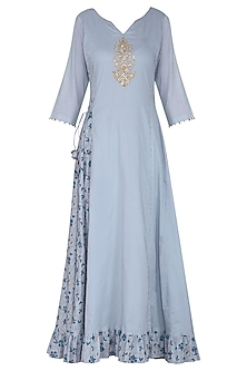 Blue Embroidered Maxi Dress with Dupatta by Seema Nanda