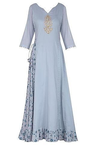Blue Embroidered Maxi Dress with Dupatta by Seema Nanda
