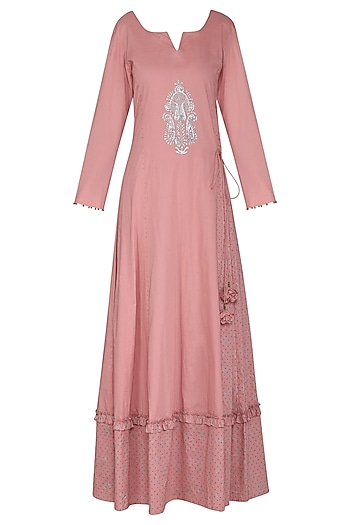 Dusky Pink Embroidered Maxi Dress with Dupatta by Seema Nanda