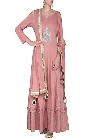 Dusky Pink Embroidered Maxi Dress with Dupatta by Seema Nanda