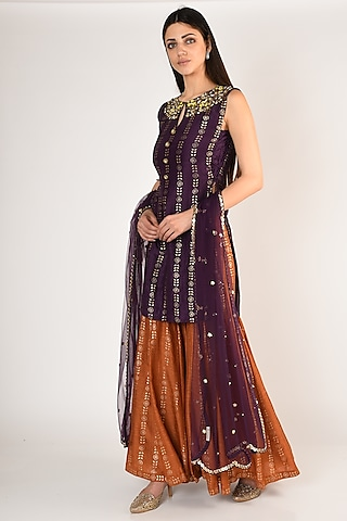 Purple Zari Embellished Gharara Set by Salian By Anushree