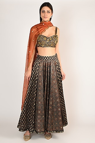 Black Hand Embroidered & Printed Lehenga Set by Salian By Anushree