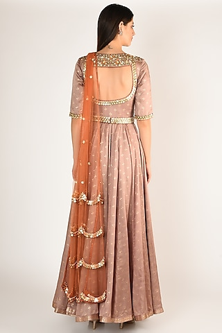 Grey Embellished & Printed Anarkali Set With Belt by Salian By Anushree