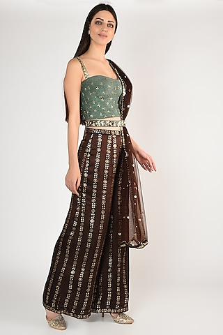 Mint Green Hand Embroidered & Printed Palazzo Pants Set by Salian By Anushree