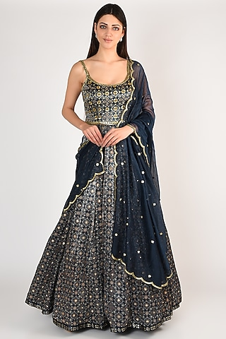 Cobalt Blue Embroidered & Printed Anarkali Set by Salian By Anushree