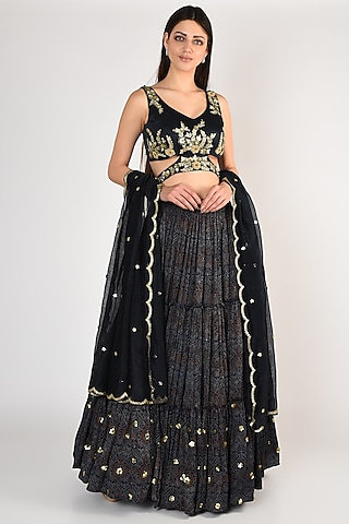 Cobalt Blue Hand Embroidered Lehenga Set by Salian By Anushree