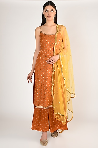 Orange Printed & Embroidered Kurta Set by Salian By Anushree
