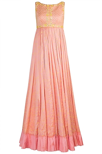Peach Embroidered & Printed Gown With Dupatta by Salian by Anushree