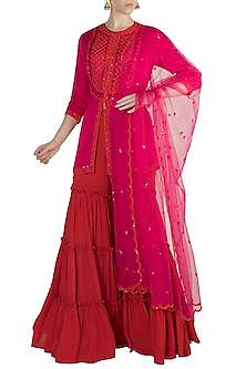 Pink Embroidered Gharara Set by Salian by Anushree