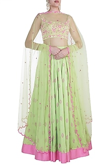 Pista Green Embroidered Lehenga Set by Salian by Anushree