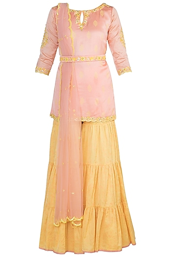 Peach Embroidered & Printed Gharara Set by Salian by Anushree