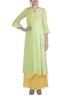 Pista Green Embroidered Kurta Set by Salian by Anushree