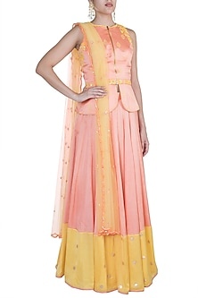Peach Embroidered & Printed Lehenga Set by Salian by Anushree