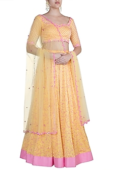 Yellow Embroidered & Printed Lehenga Set by Salian by Anushree