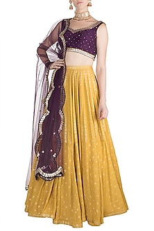 Yellow & Purple Embroidered Printed Lehenga Set by Salian by Anushree