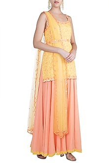 Yellow Embroidered & Printed Kurta Set by Salian by Anushree