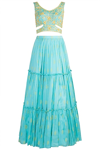 Aqua Blue Embroidered Printed Lehenga Set by Salian by Anushree