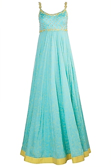 Aqua Blue Embroidered & Printed Gown With Dupatta by Salian by Anushree