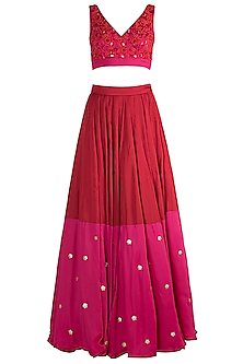 Red Embroidered Kalidar Lehenga Set by Salian by Anushree