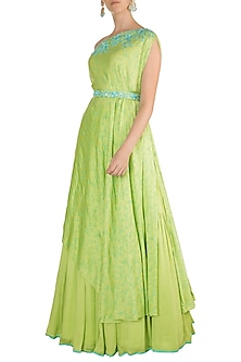 Pista Green Embroidered Printed Draped Top With Skirt & Belt by Salian by Anushree