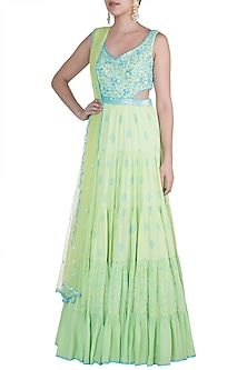 Pista Green Embroidered Anarkali Gown With Dupatta by Salian by Anushree