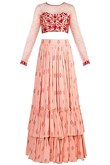 Peach Embroidered Lehenga Set by Salian by Anushree