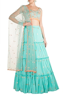 Aqua Blue Printed Embroidered Lehenga Set by Salian by Anushree