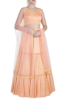 Peach Printed Embroidered Lehenga Set by Salian by Anushree