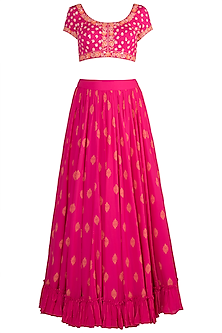 Pink Embroidered Lehenga Set by Salian by Anushree