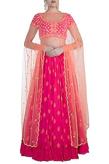 Pink Embroidered Lehenga Set by Salian by Anushree