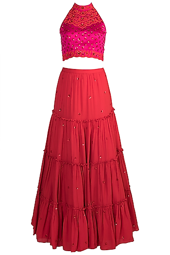 Red Embroidered Lehenga Set by Salian by Anushree
