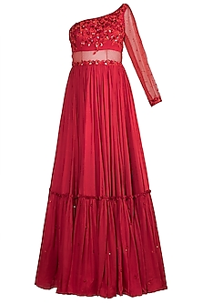 Red Embroidered Gown With Dupatta by Salian by Anushree