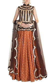 Orange & Brown Embroidered, Foil Printed Lehenga Set by Salian by Anushree