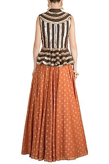 Orange Printed Lehenga With Brown Top by Salian by Anushree