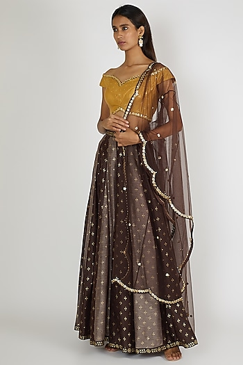 Brown Embroidered Palazzo Pant Set by Salian By Anushree