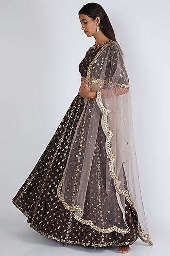 Brown Printed & Embroidered Lehenga Set by Salian By Anushree