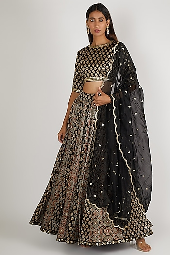 Black Embroidered Lehenga Set by Salian By Anushree
