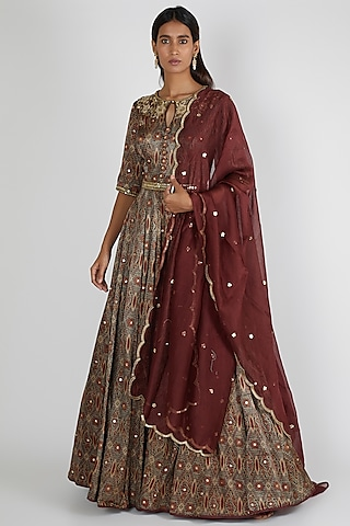 Maroon Embroidered Anarkali Set With Belt by Salian By Anushree