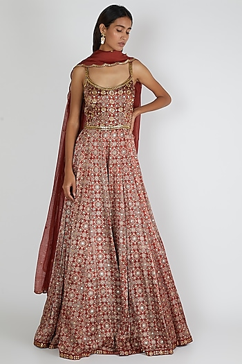 Red Embroidered Anarkali Set by Salian By Anushree
