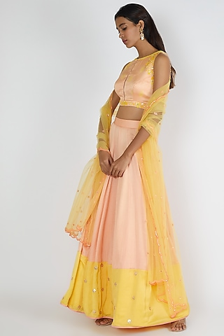 Peach & Yellow Embroidered Lehenga Set by Salian By Anushree