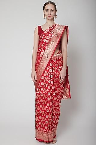 Red Handwoven Jaal Saree Set by Shanti Banaras