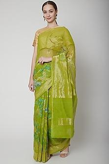 Mint Green Handwoven Kadwa Saree Set by Shanti Banaras